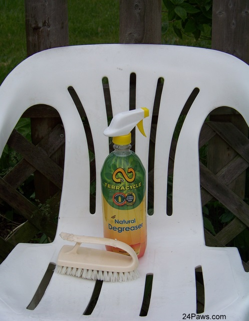 Clean chair thanks to TerraCycle Degreaser and a little elbow grease.