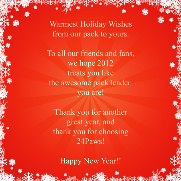 2012 Holiday Wishes  from 24Paws