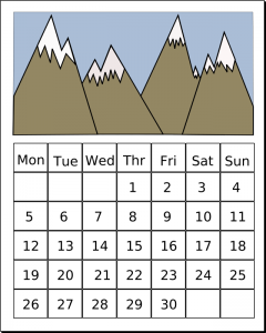 image of a calendar with mountains