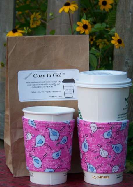 cozy to go cup wrap birds