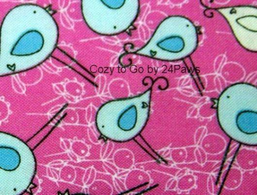 cozy to go pink bird fabric